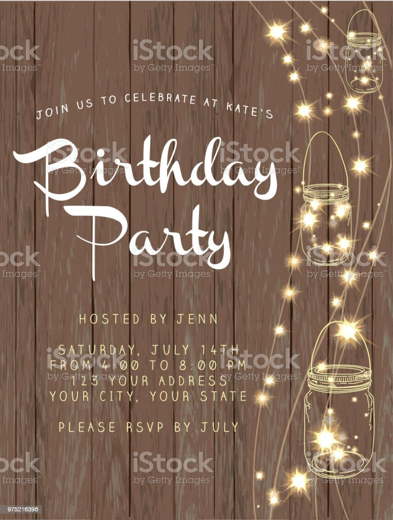birthday party string lights and rustic wooden background design