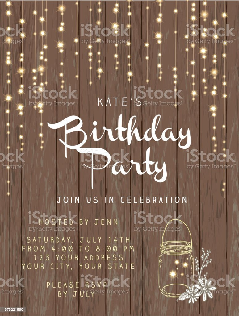 Birthday party string lights and rustic wooden background design invitation template vector art illustration