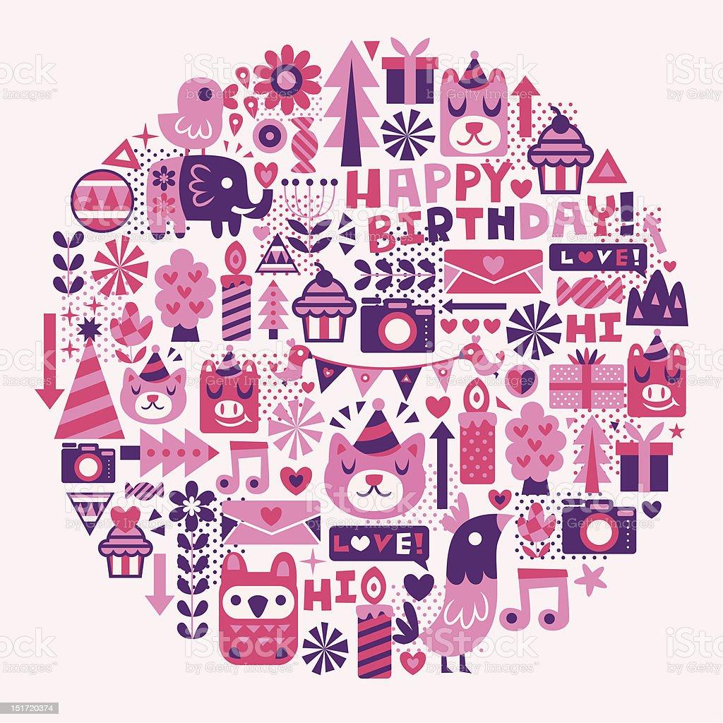 birthday party symbols circle royalty-free stock vector art