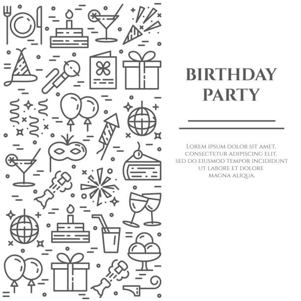 Birthday party theme banner consisting of line icons with editable stroke in form of rectangle. Birthday party theme banner consisting of line icons with editable stroke in form of rectangle - different elements for invitation or congratulation card in minimalistic style. Vector illustration. birthday icons stock illustrations