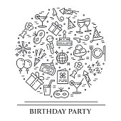 Birthday party theme horizontal banner. Set of elements of cake, present, champagne, disco, firework, entertainment related pictograms. Line out symbols Simple silhouette Vector Editable stroke