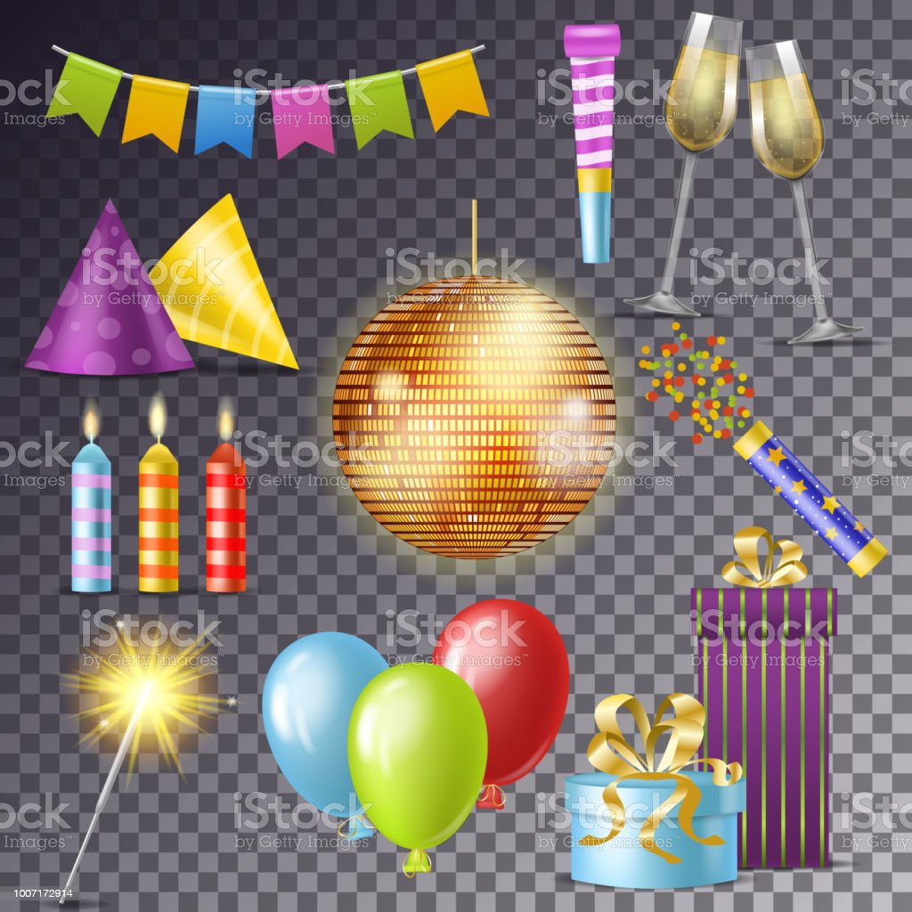 Birthday Party Vector Cartoon Happy Birth Celebration With Gifts Or Balloons On Anniversary Set Of Discoball Candle And New Year Sparkler Illustration