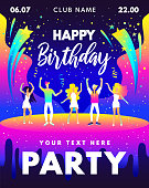 Birthday Party gradients design with dancing young people, cake, fireworks and typographic element for banners, flyer, invitation. Birthday party bright vector template in pink, blue and yellow