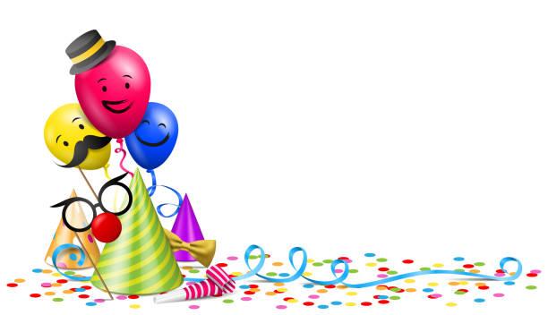 illustrations, cliparts, dessins animés et icônes de anniversaire fête illustration vectorielle avec chapeaux de fête et de confettis - ballon anniversaire smiley