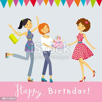 Birthday Party Vector Greeting Card Stock Vector Art & More Images of Adult 964719544