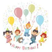 Birthday party. Happy kids.