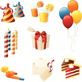 Separately grouped birthday party icons.