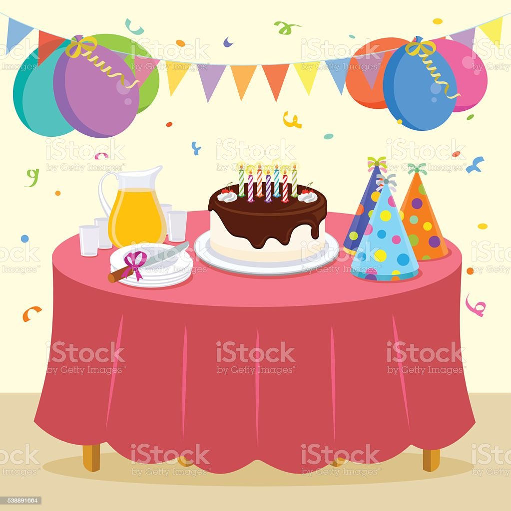Birthday party vector art illustration