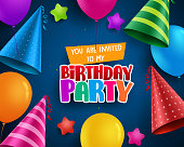 Birthday party vector invitation greeting card design with colorful birthday hats and balloons elements in blue background. Vector illustration.