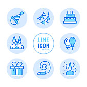 Birthday party vector line icons set. Celebration, surprise, entertainment, holiday, gift outline symbols. Linear, thin line style. Modern simple stroke outline graphic elements for web design, websites, mobile app. Round icons
