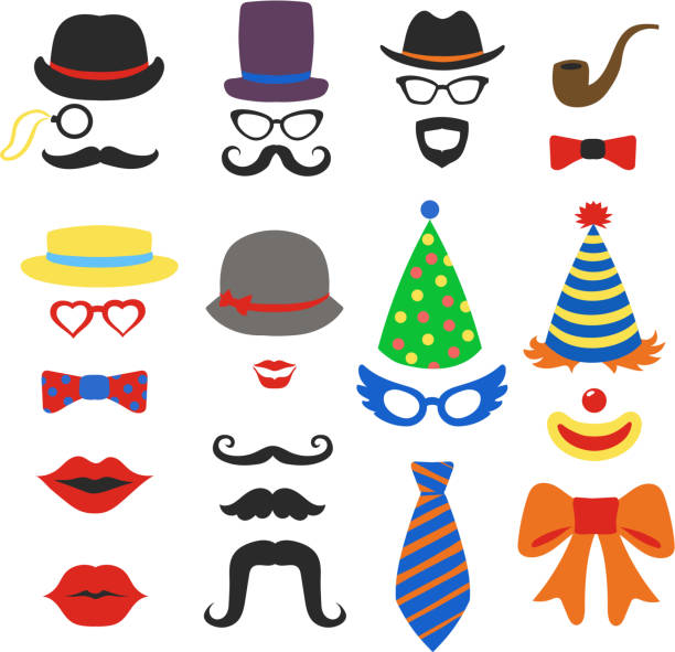 birthday party vector photo booth props - glasses, hats, lips, - photo booth stock illustrations, clip art, cartoons, & icons