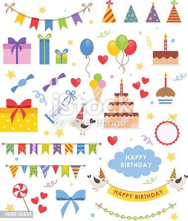 istock Birthday party vector set 468616404
