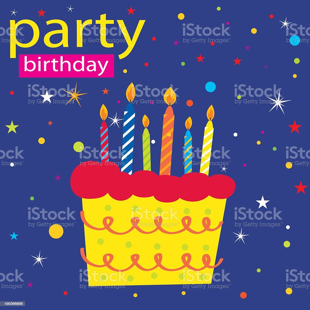 Birthday Party With Candles On Cake Vector Design Royalty Free