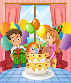 Birthday party with family and cake illustration