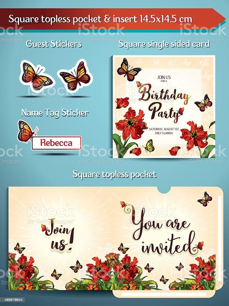 Birthday Pary Invitation Set Parrot Tulips Square Pocket And Insert