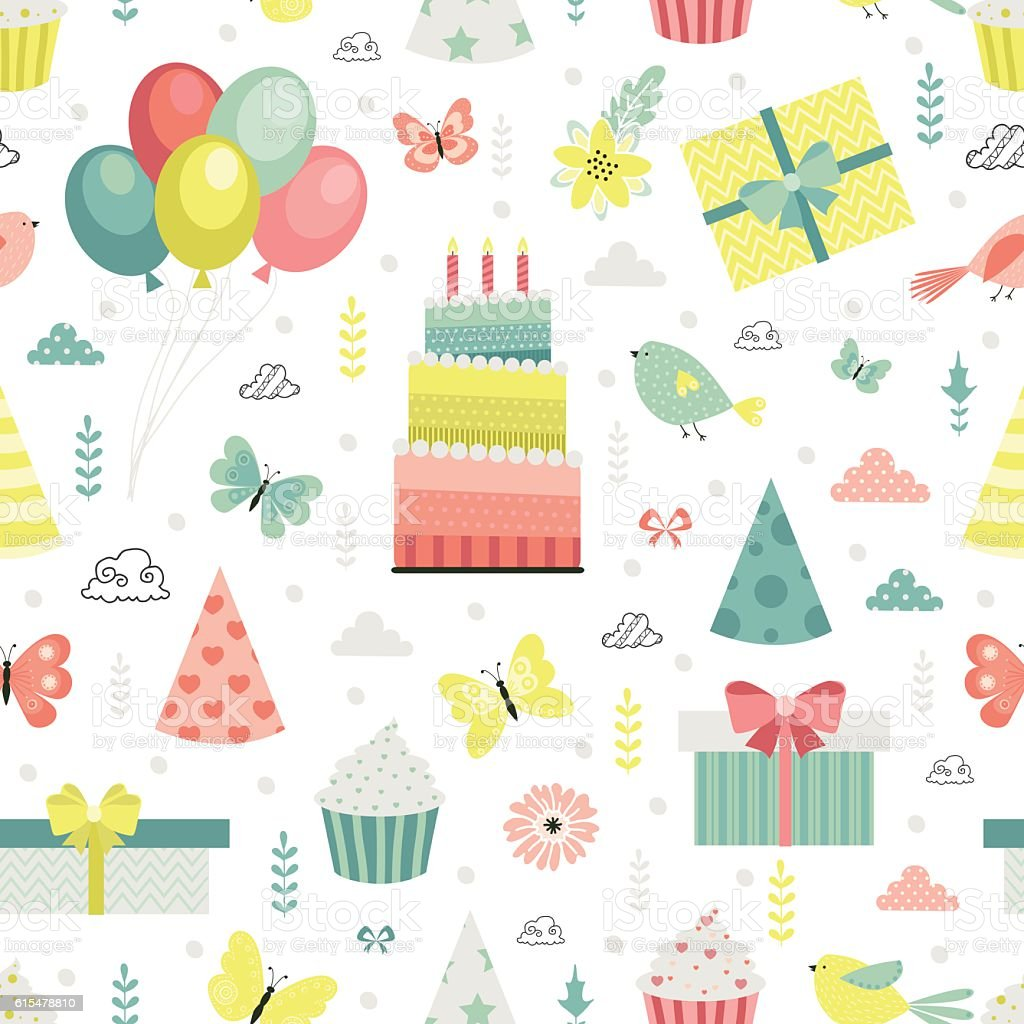 Birthday Pattern Stock Vector Art More Images Of Animal Markings