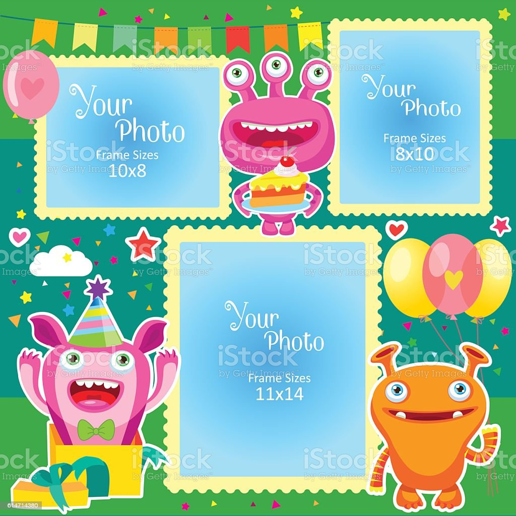 Birthday Photo Frames With Cute Monsters Stock Vector Art More