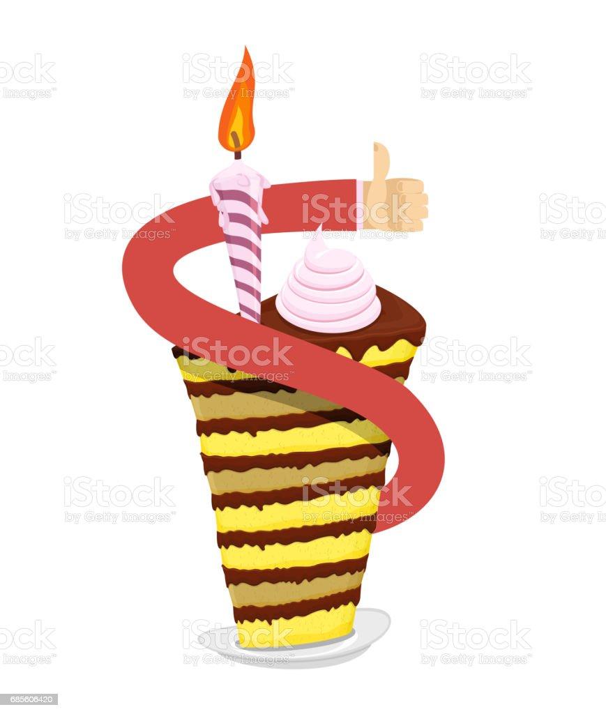 生日蛋糕手拇指向上。很棒的糖果假日糖果產品。盤子裡的甜點和蠟燭 免版稅 生日蛋糕手拇指向上很棒的糖果假日糖果產品盤子裡的甜點和蠟燭 向量插圖及更多 事件 圖片