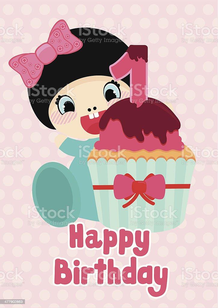 Geburtstag Postkarte Für Ein Jahr Altes Cartoon Mädchen Mit Cupcake ...