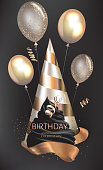 Birthday poster with cup cake, air balloons and party hat. Vector illustration