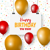 Birthday poster with hanging signs and balloons on background vector eps 10