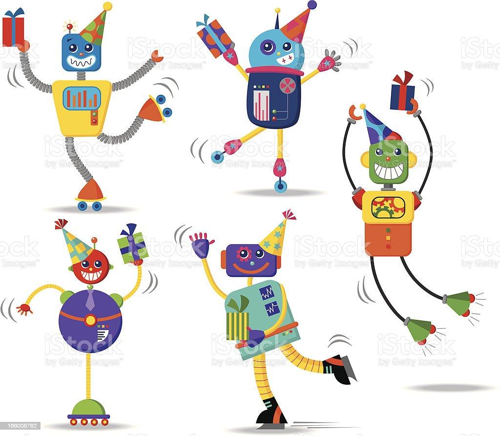 Birthday robots vector art illustration