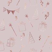 Birthday. Rose gold. Elegant vector texture for design