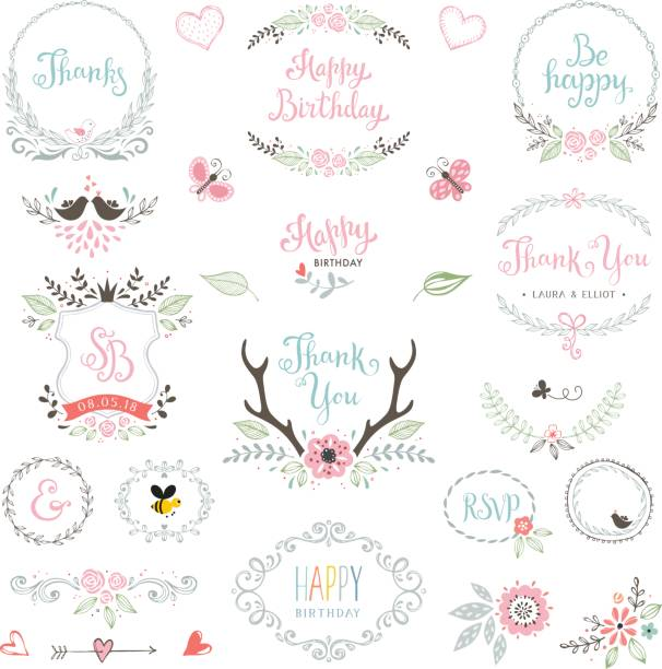 Birthday Rustic Elements_01 Hand drawn Birthday Party rustic collection with typographic design elements. Ornate motives, branches, wreaths, monograms, frames, antlers and flowers. Vector illustration. shabby chic stock illustrations