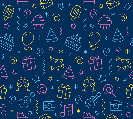 Birthday Seamless Icon Background