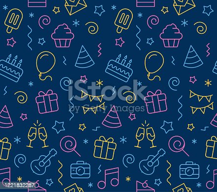 Vector illustration of birthday seamless icon background.
