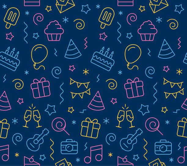 ilustraciones, imágenes clip art, dibujos animados e iconos de stock de cumpleaños icono sin costura fondo - cumpleaños