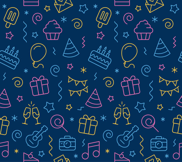 Birthday Seamless Icon Background Vector illustration of birthday seamless icon background. birthday background stock illustrations