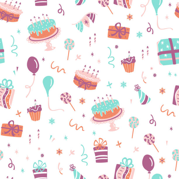 Birthday Seamless Pattern. Hand Drawn Celebration Elements Background. Seamless Pattern with Gifts, Balloons, Confetti and Cakes. birthday designs stock illustrations