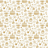 Birthday Seamless pattern. Hand drawn doodle birthday cake, gift and other Party Supplies. Celebratory background. Holiday Wallpaper.