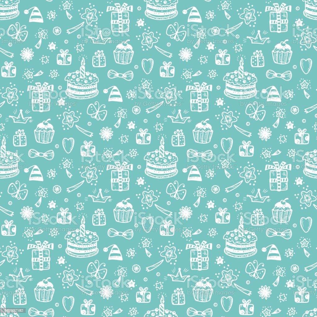 Brilliant Birthday Seamless Pattern Hand Drawn Doodle Birthday Cake Gift And Funny Birthday Cards Online Alyptdamsfinfo