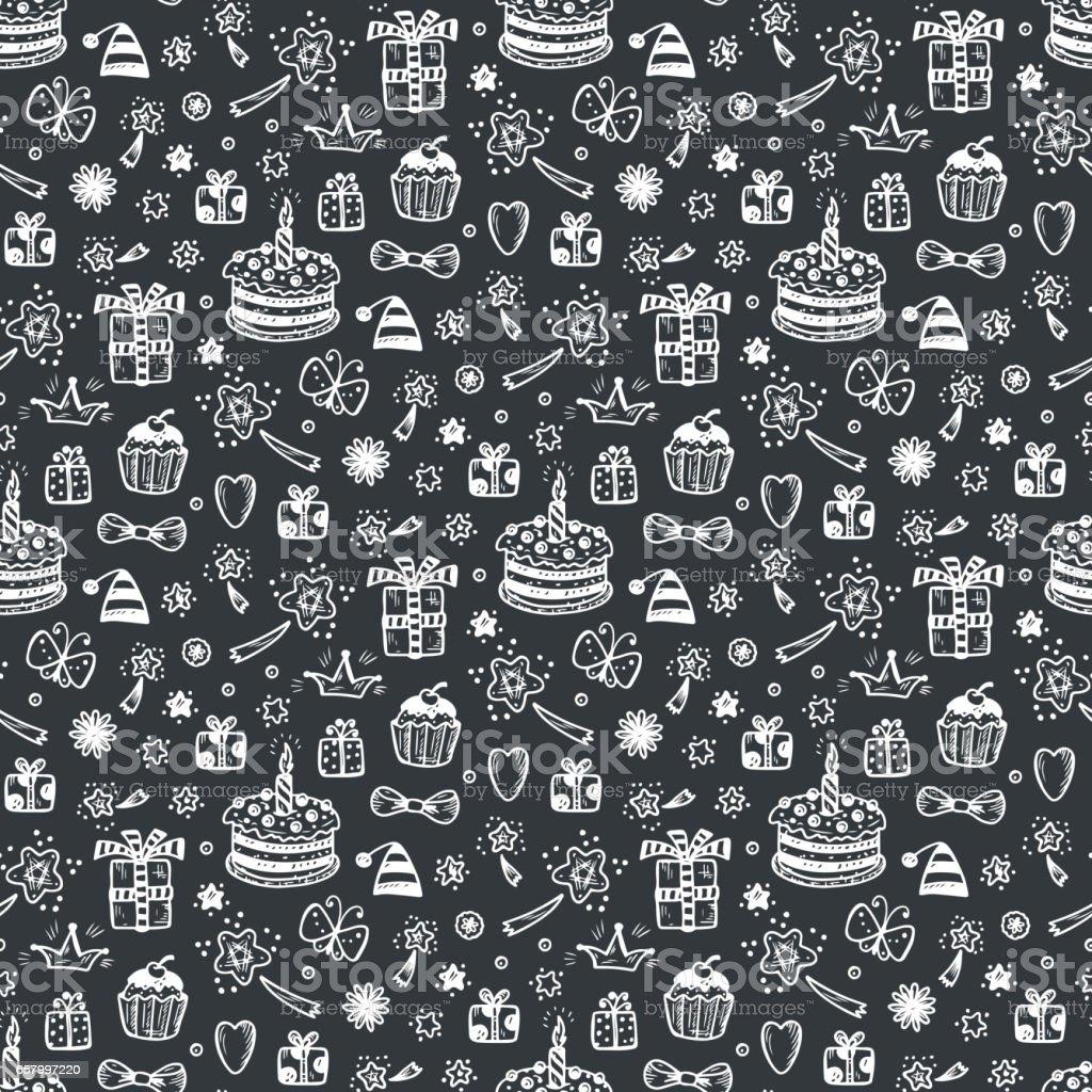 Pleasing Birthday Seamless Pattern Hand Drawn Doodle Birthday Cake Gift And Funny Birthday Cards Online Alyptdamsfinfo