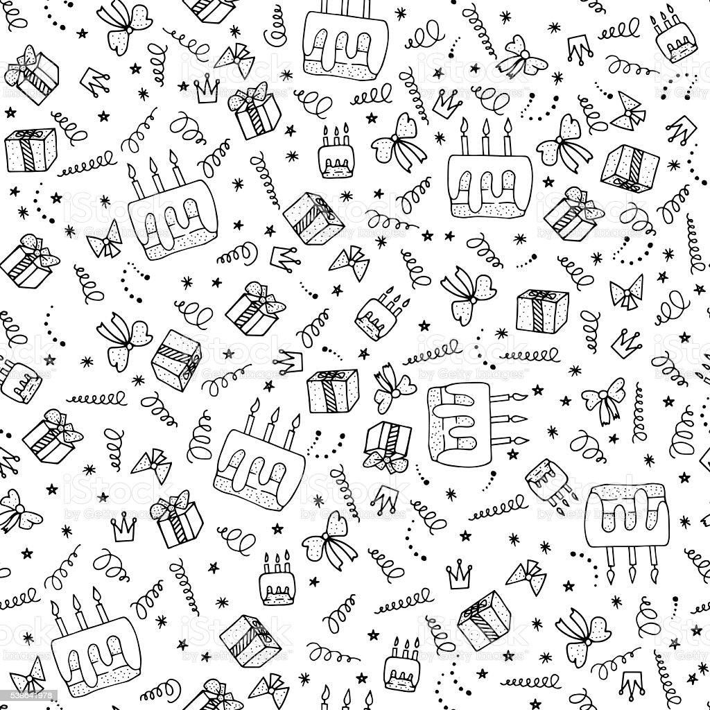 Birthday seamless pattern. vector art illustration
