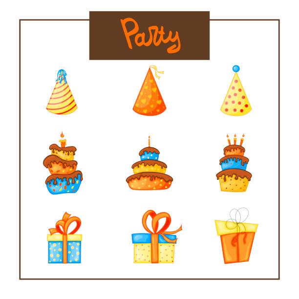 illustrazioni stock, clip art, cartoni animati e icone di tendenza di birthday set of items for holiday card or invitation. cartoon style. vector illustration. - ferragosto