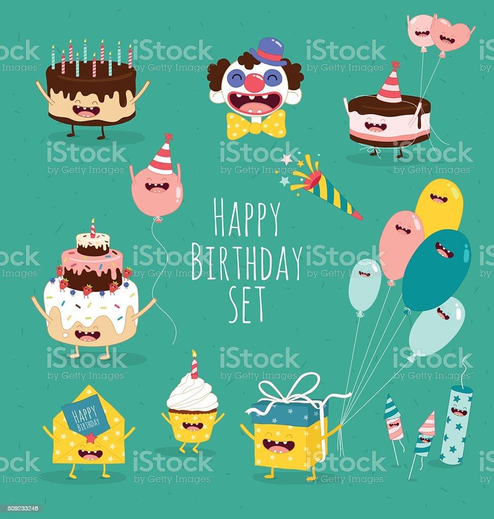 birthday set vector art illustration