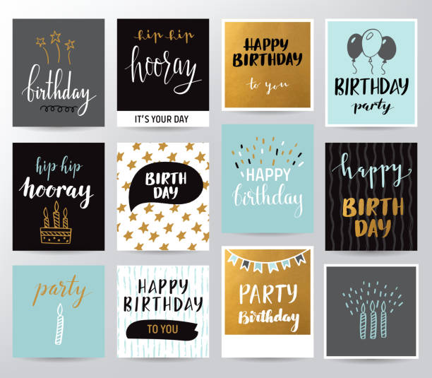 Birthday set vector art illustration