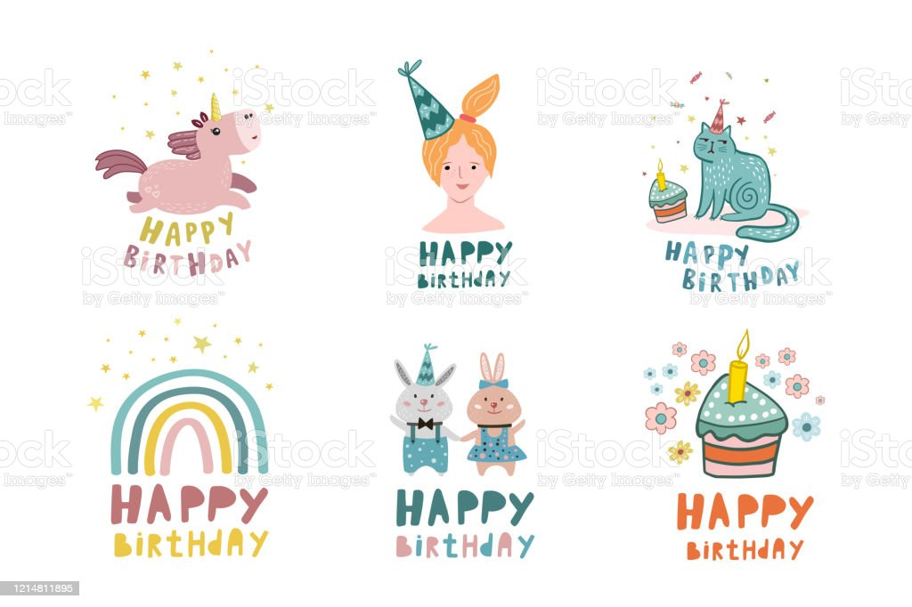 Birthday Set Vector Illustration For Birthday Design Collection Of Birthday Drawings Birthday Card Flat Style Drawings Stock Illustration Download Image Now Istock