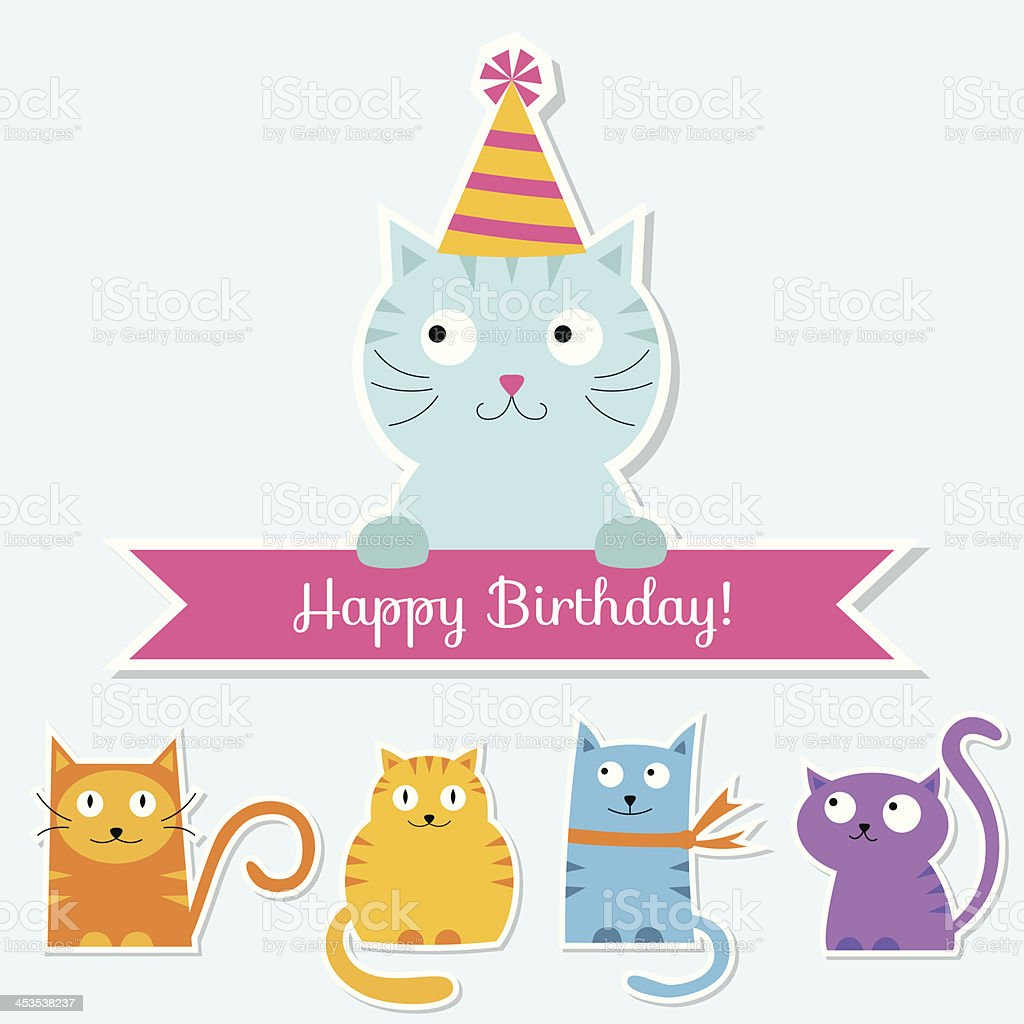 Birthday set with cats vector art illustration