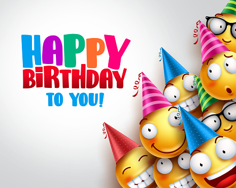 Birthday smileys vector background design with yellow funny and happy emoticons wearing colorful party hats and happy birthday text in empty white background. Vector illustration.