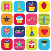Birthday sticker set with icon vector Illustration. EPS 10 & HI-RES JPG Included