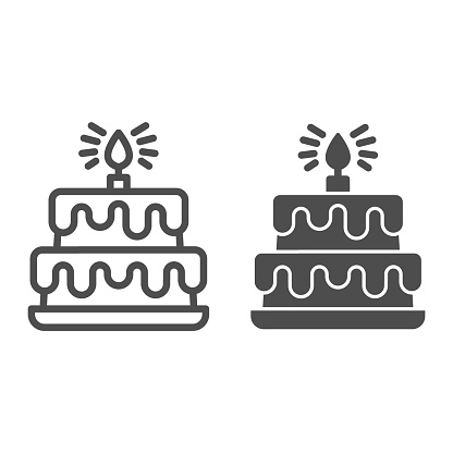 Birthday storey cake line and solid icon, Birthday cupcake concept, Two tiered cake sign on white background, dessert with chocolate glaze and candle icon in outline style for mobile. Vector graphics.
