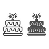 istock Birthday storey cake line and solid icon, Birthday cupcake concept, Two tiered cake sign on white background, dessert with chocolate glaze and candle icon in outline style for mobile. Vector graphics. 1283975331