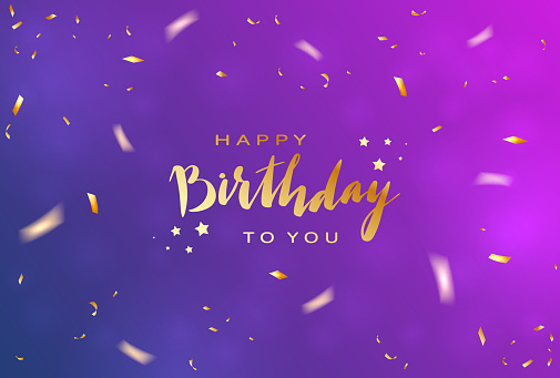 Birthday Streamers and Confetti on Blue and Purple Background