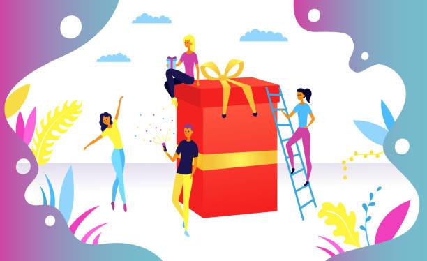 ilustrações de stock, clip art, desenhos animados e ícones de birthday surprise celebration concept. peoples near surprise box, suitable for landing page, ui, web, app intro card, editorial, flyer, and banner. flat style. vector illustration. - box separate life