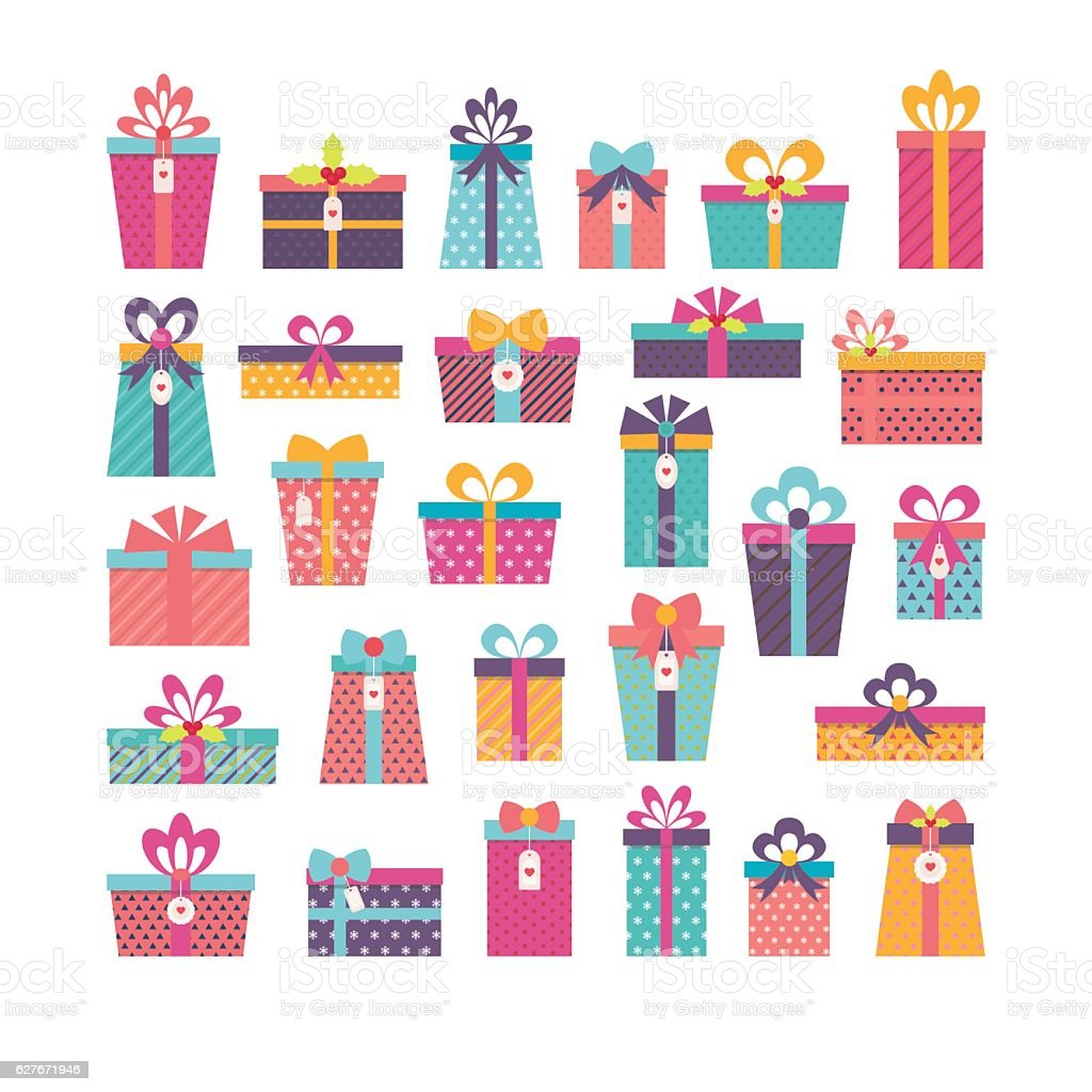 Birthday surprise set of different gift boxes flat design set of different gift boxes flat design birthday surprise set negle Images
