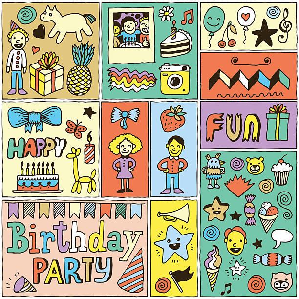 illustrations, cliparts, dessins animés et icônes de ensemble de bannières anniversaire des thèmes de couleurs 2. main tirées des illustrations vectorielles. - ballon anniversaire smiley